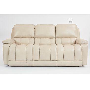 La-Z-Boy Greyson Leather Power Reclining Sofa with Power Headrest in Ice, , large