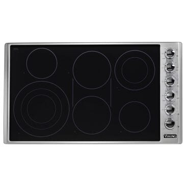 """Viking Range 36"""" Electric Radiant Cooktop in Stainless Steel and Black, , large"""