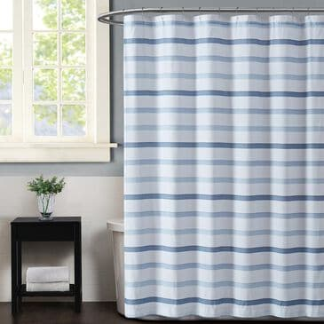 Pem America Truly Soft Waffle Shower Curtain in White and Blue, , large