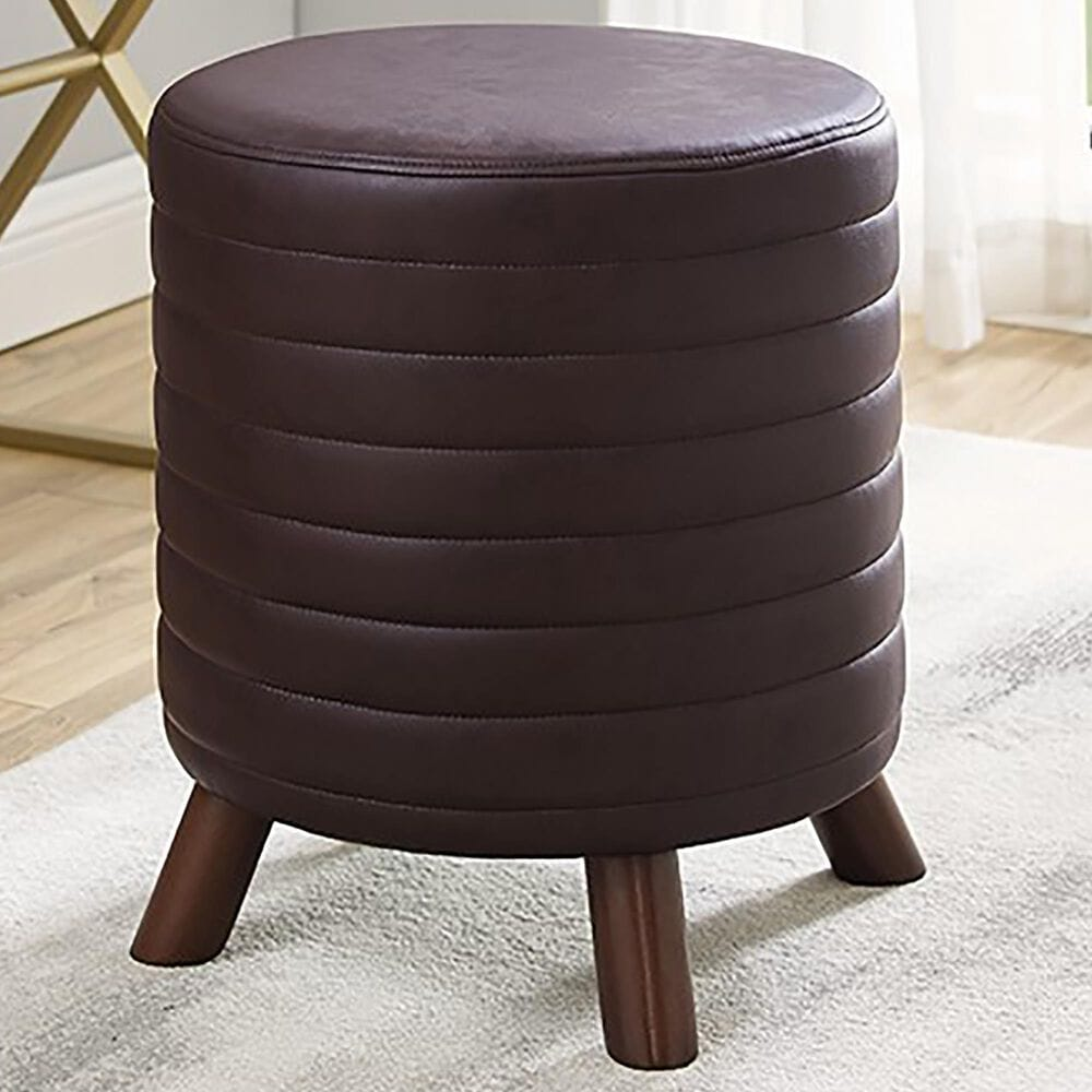 Linden Boulevard Peat Faux Leather Ottoman in Brown, , large