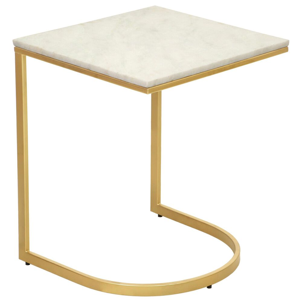 Carolina Chair and Table Lorelie Accent Table in White and Gold, , large