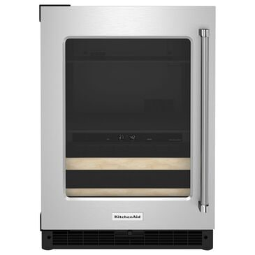 """KitchenAid 24"""" Beverage Center with Left Hinge, Wood-Front Racks in Black and Stainless Steel, , large"""