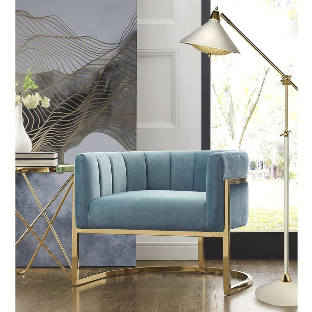 Tov Furniture Magnolia Chair with Gold Base in Sea Blue, , large