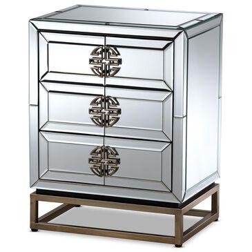 Baxton Studio Laken 3 Drawer Nightstand in Mirrored, , large
