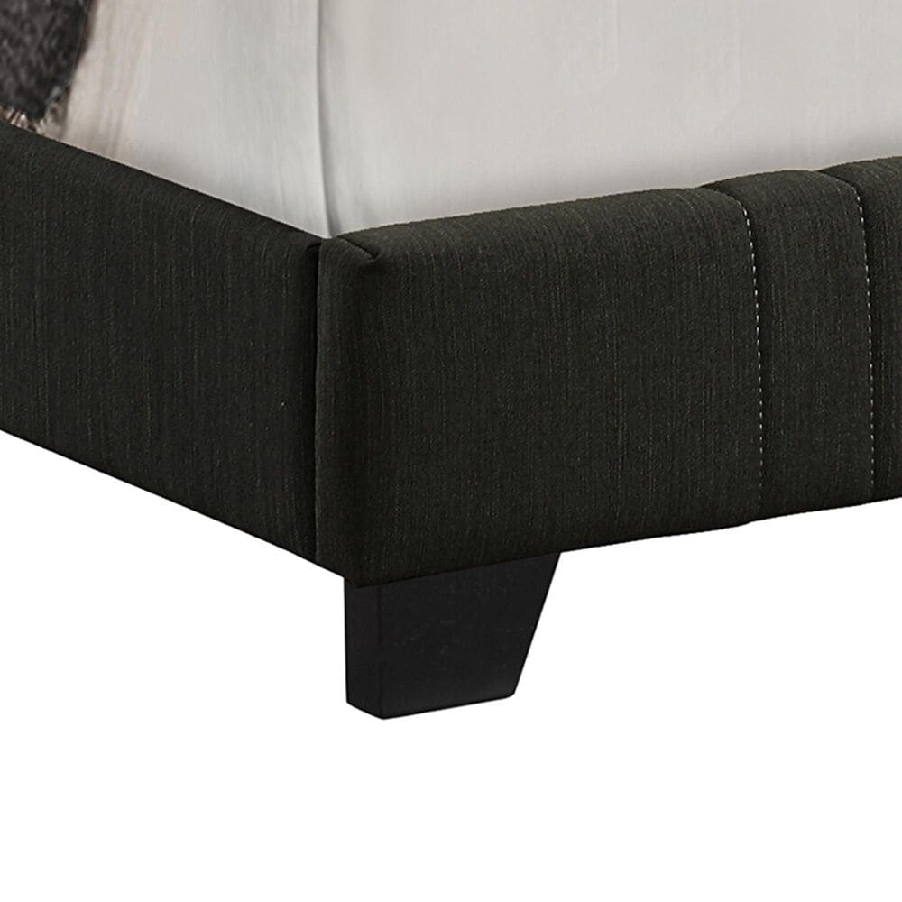 Accentric Approach Twin Upholstered Panel Bed in Black, , large