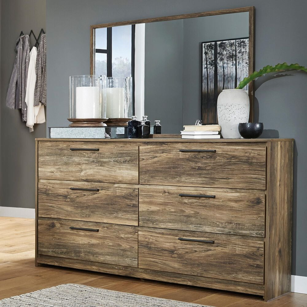 Signature Design by Ashley Rusthaven 6 Drawer Dresser and Mirror in Rustic Brown, , large