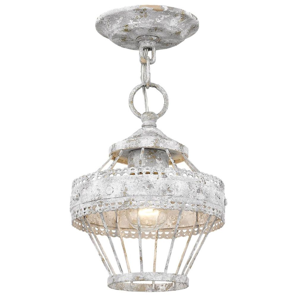 Golden Lighting Ferris Semi-Flush with Chain in Oyster, , large