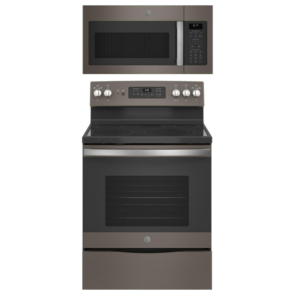"""GE Appliances 2-Piece Kitchen Package with 30"""""""" Electric Range and Sensor Microwave Oven in Slate, , large"""
