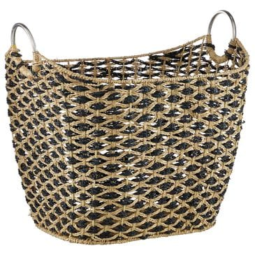 "Maple and Jade 18"" Bohemian Seagrass Woven Storage Basket in Natural Brown, , large"