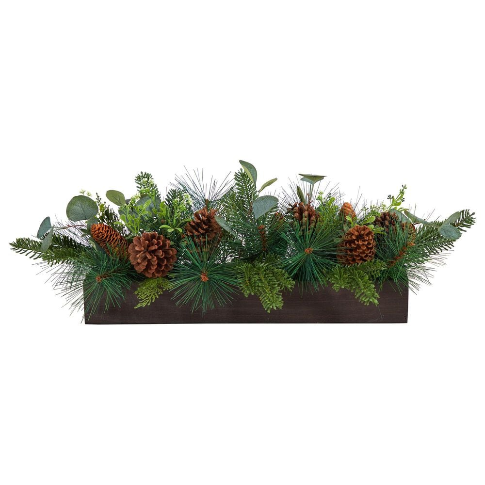 Nearly Natural Inc 30in. Evergreen Pine and Pine Cone Artificial Christmas Centerpiece Arrangement, , large