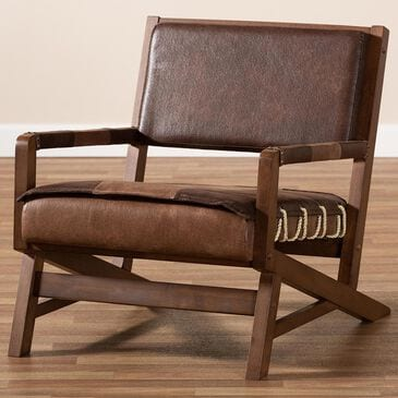 Baxton Studio Rovelyn Lounge Chair in Brown/Walnut, , large