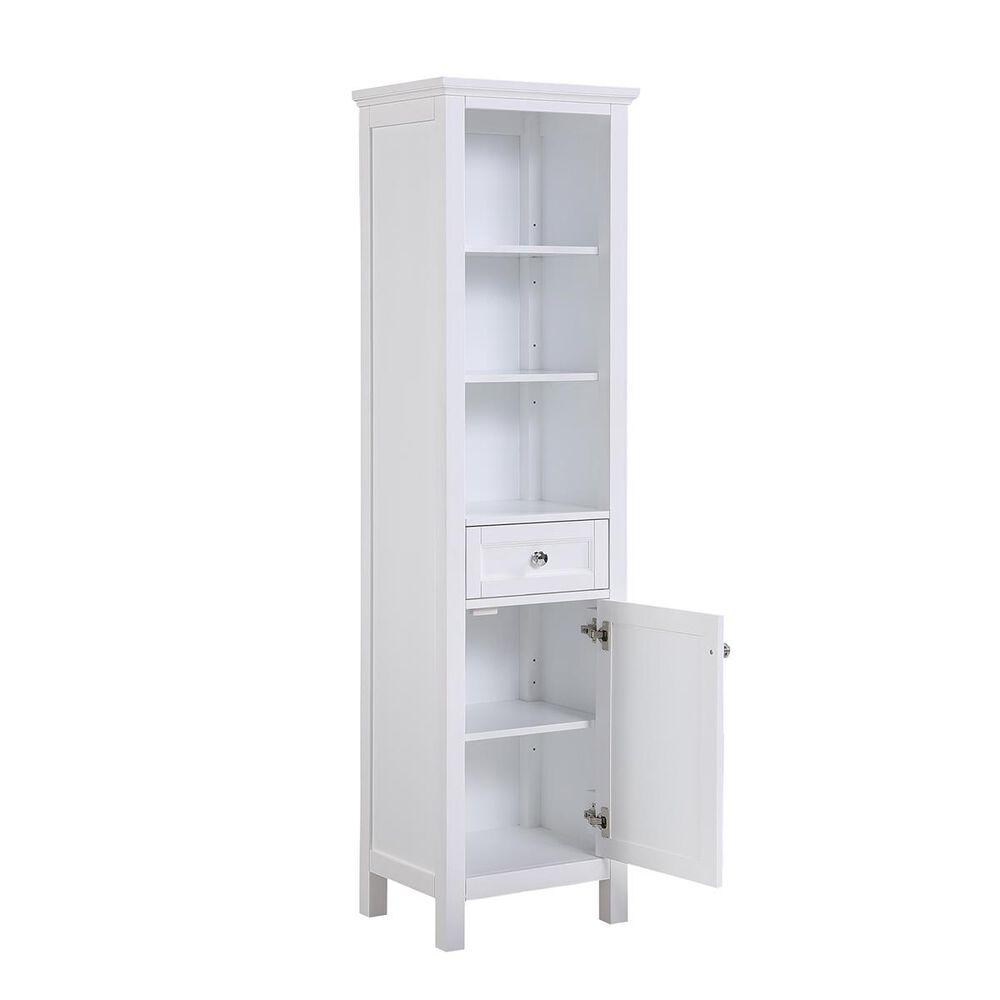 Aurafina Cunningham Free Standing Linen Closet in Plantation White, , large