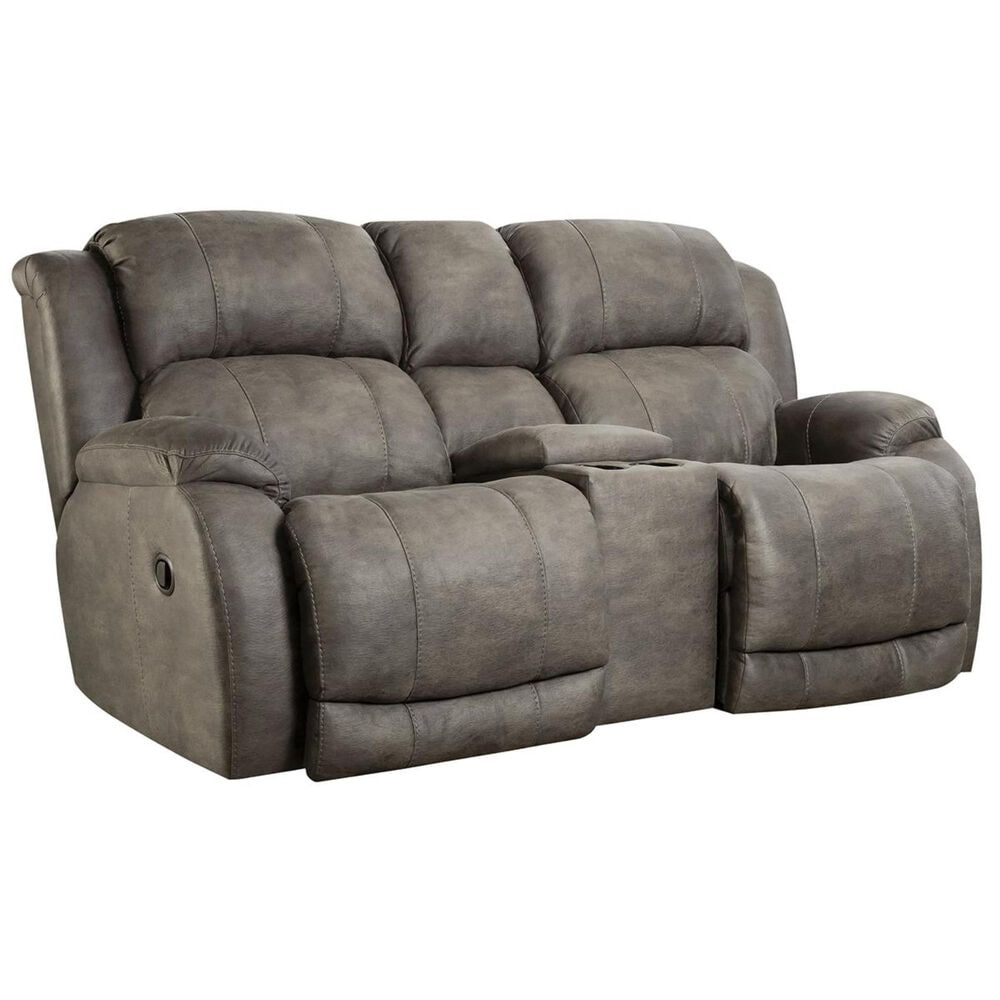 HomeStretch Denali Manual Reclining Loveseat with Console in Grey, , large