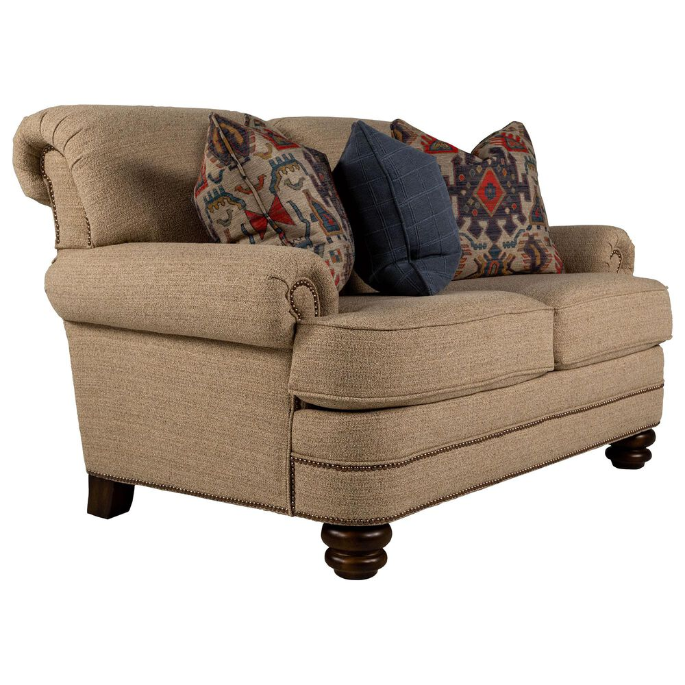 Flexsteel Loveseat in Flax Tan with Toss Pillows, , large