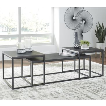 Signature Design by Ashley Yarlow 3-Piece Table Set in Black and Gray, , large