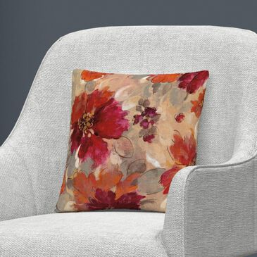 Timberlake Silvia Vassileva 'Magenta and Coral Floral' 16 x 16 Decorative Throw Pillow, , large