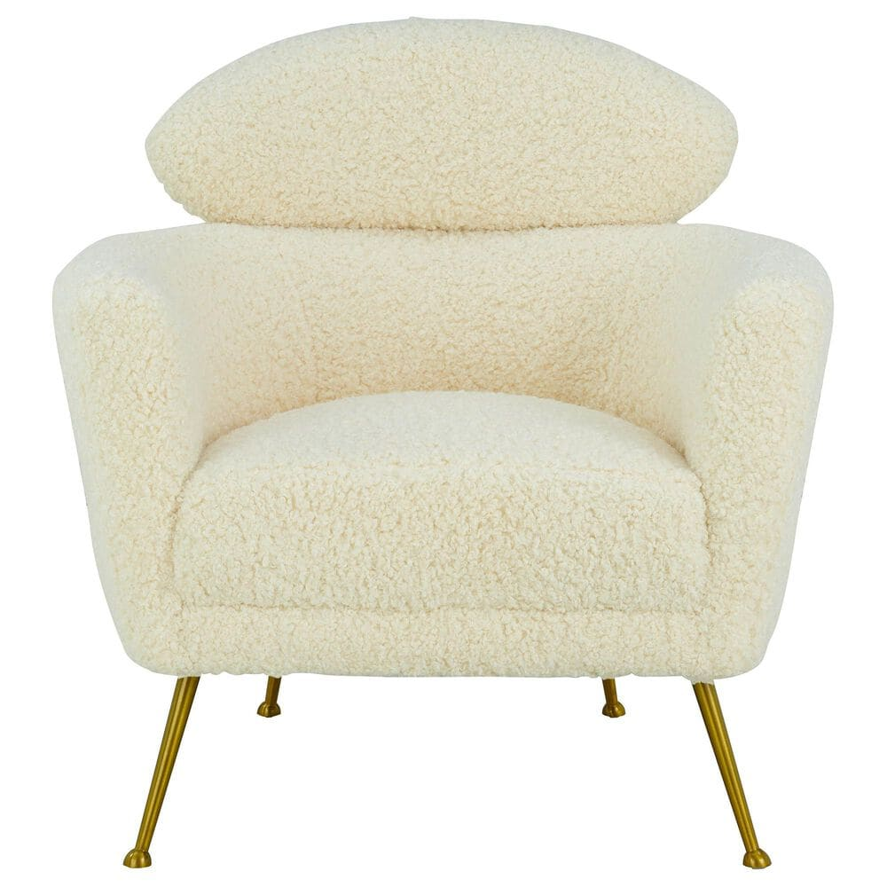 Tov Furniture Welsh Chair in Beige Faux Shearling , , large