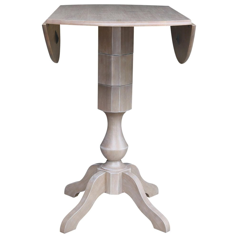 """International Concepts 42"""" Modern Farmhouse Casual Drop Leaf Dining Table in Washed Gray Taupe, , large"""