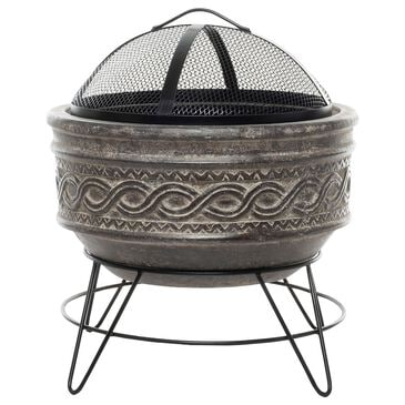 Alfresco Home Large Earthenware Wavyband Firepit in Dark Wood, , large
