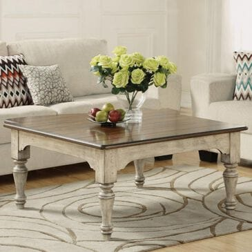 Flexsteel Plymouth Square Cocktail Table in Distressed Gray and White, , large