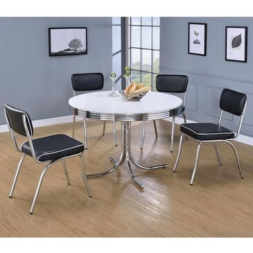 Pacific Landing Retro 5-Piece Dining Set with Black Cushion and Chrome, , large