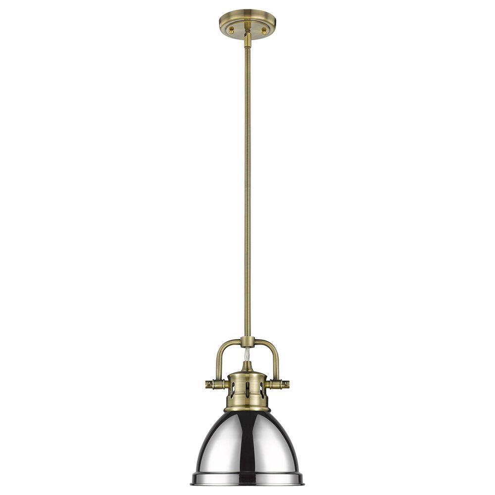 Golden Lighting Duncan Mini Pendant in Chrome with Rod in Aged Brass, , large