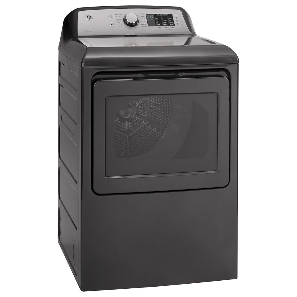 GE Appliances 4.8 Cu. Ft. Washer with FlexDispense and 7.4 Cu. Ft. Gas Dryer Laundry Pair in Diamond Gray, , large