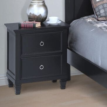 New Heritage Design 2-Drawer Nightstand in Black, , large
