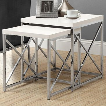 Monarch Specialties Nesting Table Set in Glossy White (Set of 2), , large