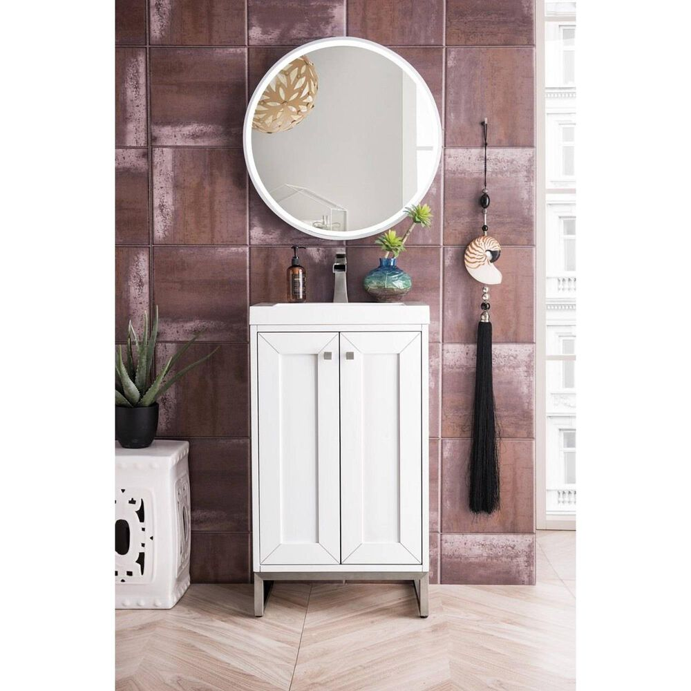 """James Martin Chianti 20"""" Single Bathroom Vanity in Glossy White and Brushed Nickel with White Glossy Solid Surface Resin Top, , large"""
