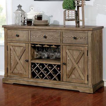 Furniture of America Tench Wine Storage Buffet Server in Light Oak, , large