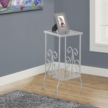 """Monarch Specialties 30"""" Accent Table with Tempered Glass in Silver, , large"""