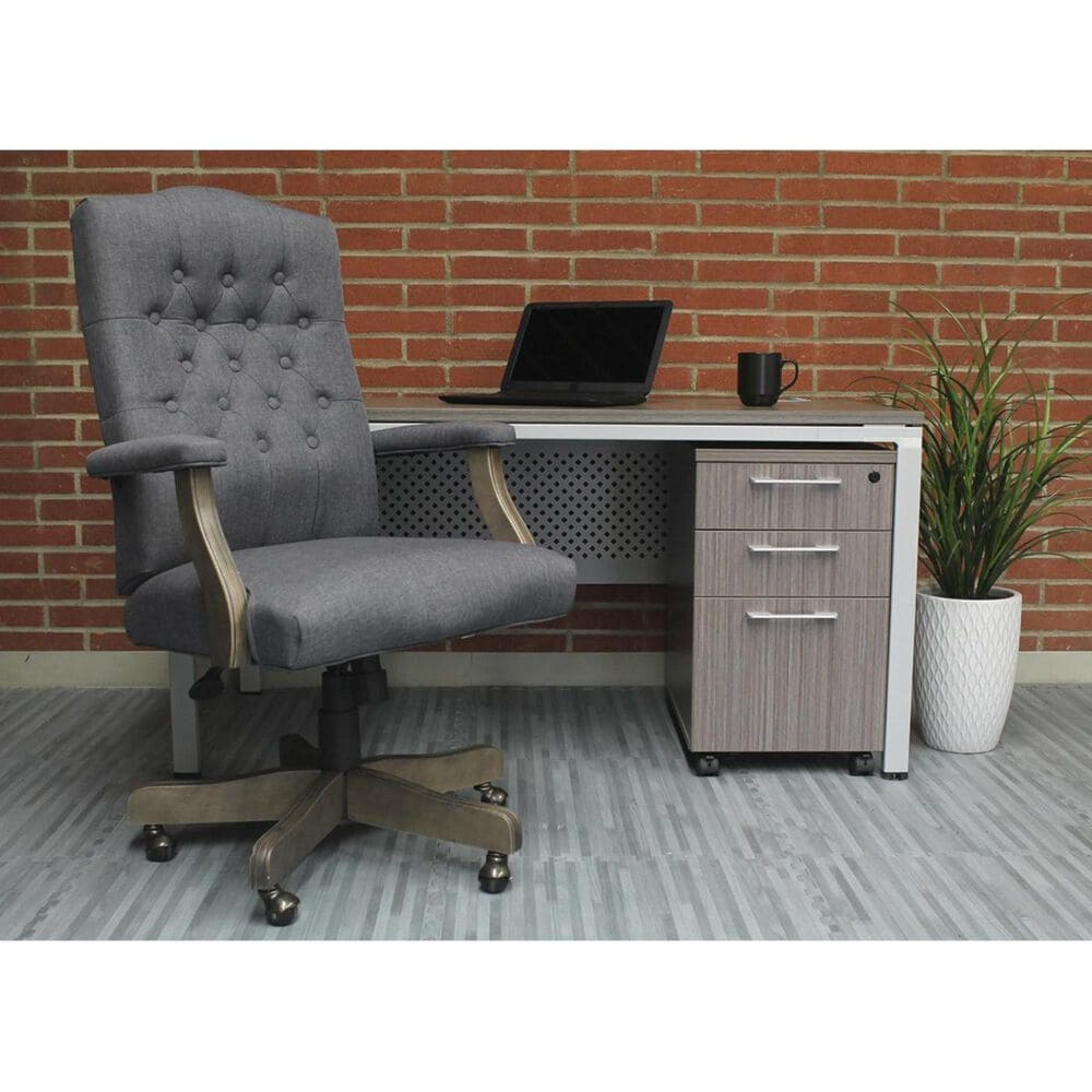 at HOME Desk Chair with Brass Casters in Slate Gray, , large