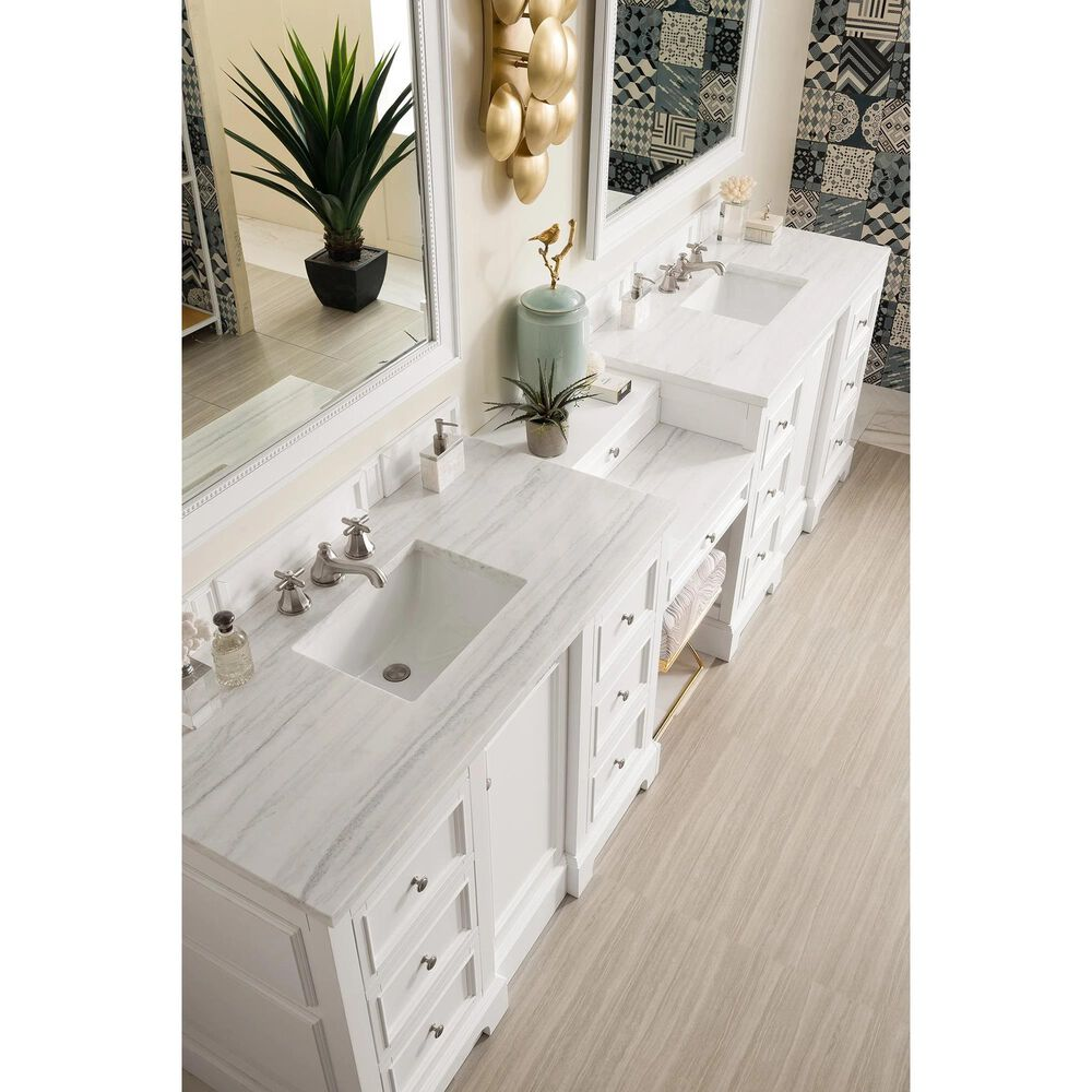 """James Martin De Soto 118"""" Double Bathroom Vanity in Bright White with 3 cm Arctic Fall Solid Surface Top, , large"""