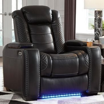 Signature Design by Ashley Party Time Power Recliner with Power Headrest in Midnight, , large