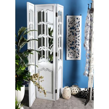 """Maple and Jade 71"""" x 47"""" 3-Panel Room Divider in White, , large"""