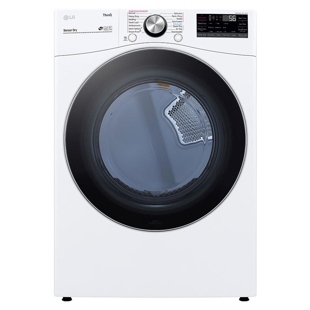 LG 7.4 Cu. Ft. Smart Front Load Electric Dryer with TurboSteam in White, , large