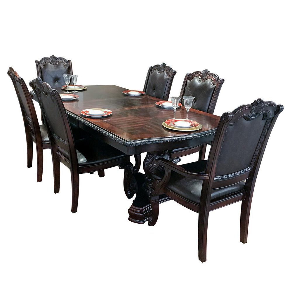 Claremont Kiera 7-Piece Double Pedestal Dining Set in Rich Brown, , large