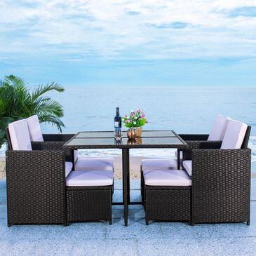 Safavieh Enerson 9-Piece Patio Dining Set in Black/White, , large