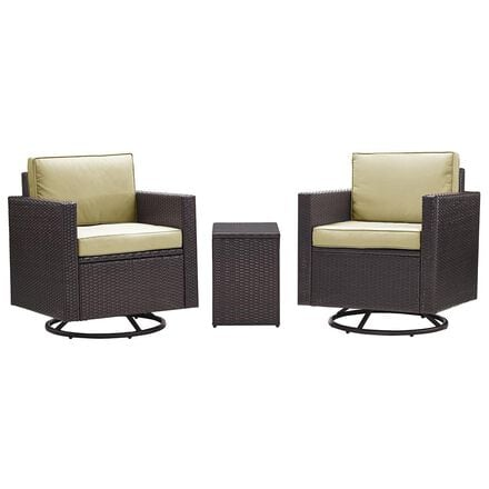 Crosley Furniture Palm Harbor 3-Piece Swivel Chair Conversation Set