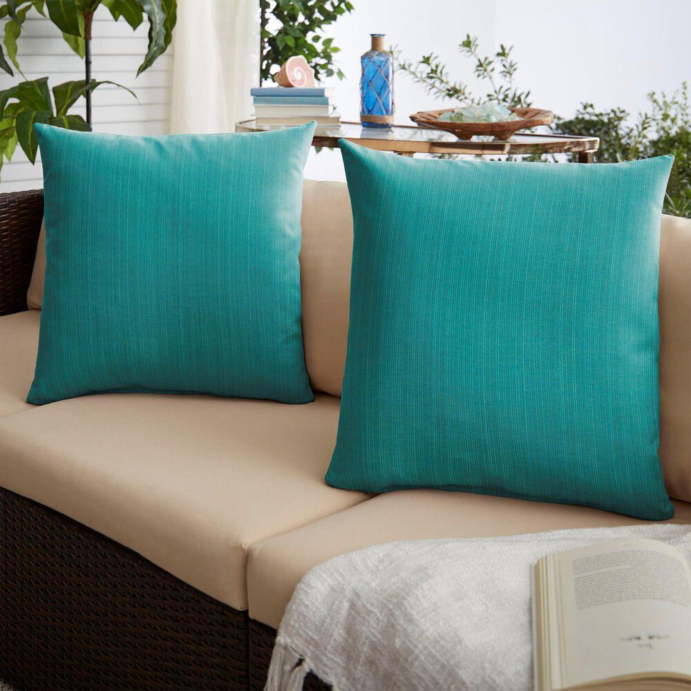 "Sorra Home Sunbrella 22"" Pillow in Dupione Deep Sea (Set of 2), , large"