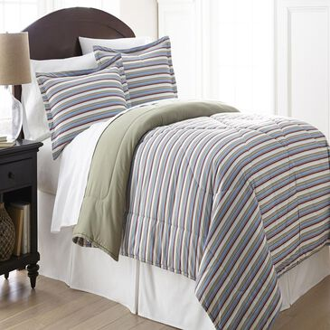 Shavel Home Products Micro Flannel Queen Awning Stripe Comforter 3 PieceSet, , large