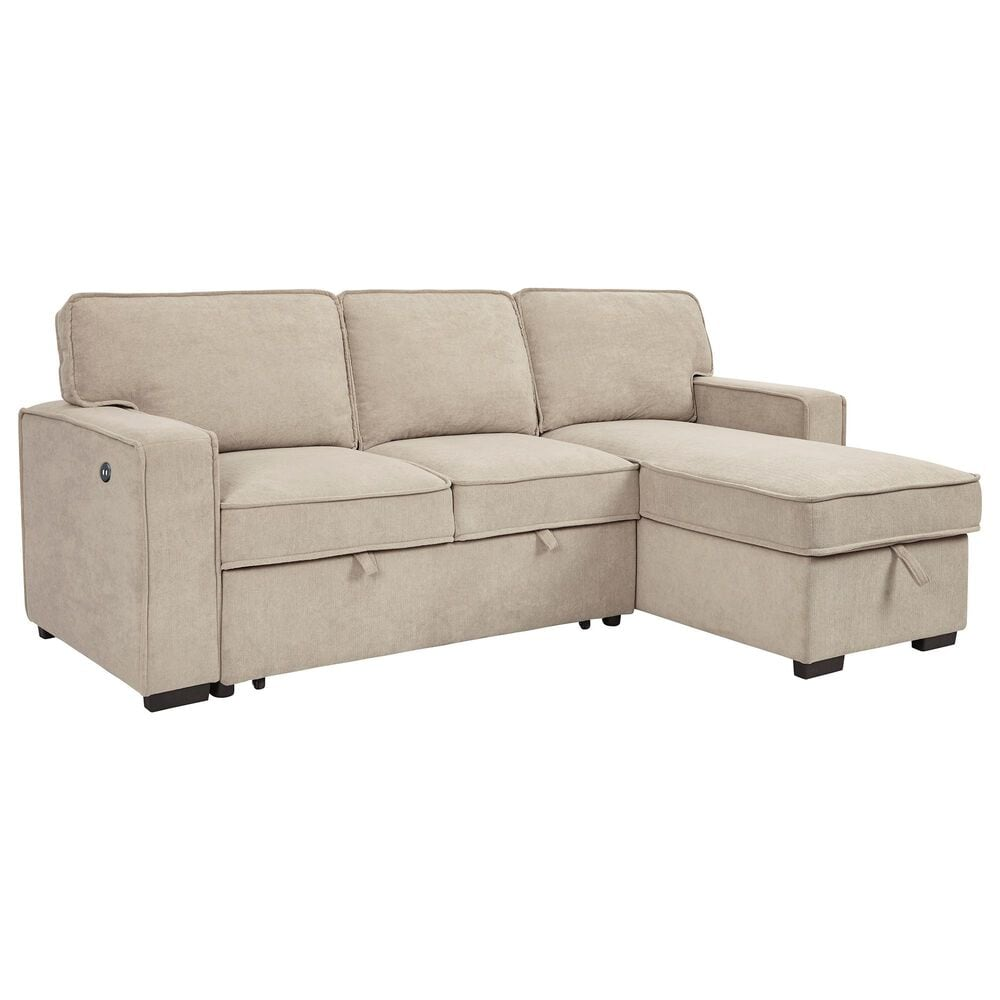 Signature Design by Ashley Darton Sofa Chaise with Pop Up Bed in Cream, , large