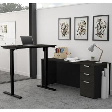 Bestar Pro-Concept Plus Height Adjustable L-Desk in Deep Grey and Black, , large