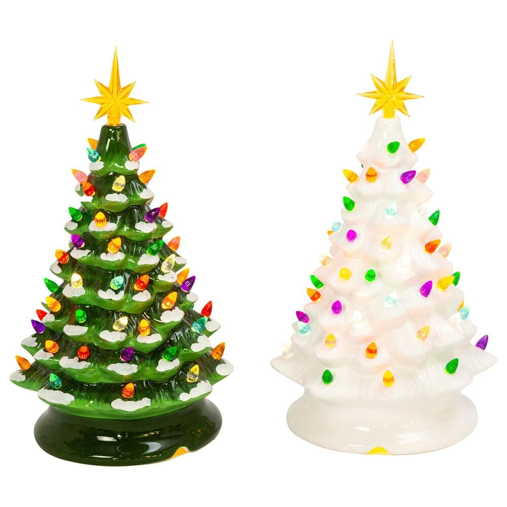 """The Gerson Company 13.9"""" Musical Dolomite Trees in Green (Set of 2), , large"""