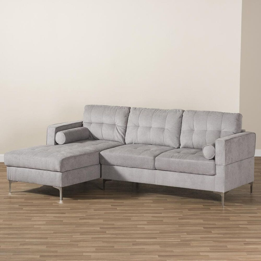 Baxton Studio Mireille Sectional Sofa in Light Grey, , large