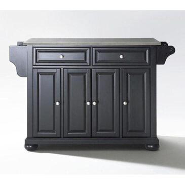 Crosley Furniture Alexandria Stainless Steel Top Kitchen Island in Black, , large