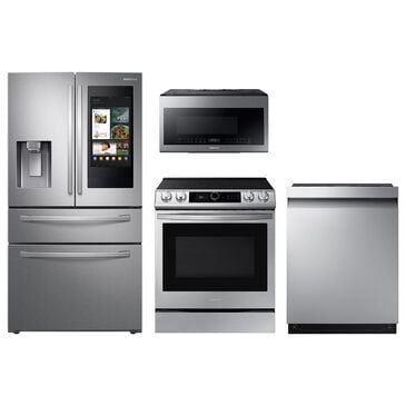 Samsung 4-Piece Kitchen Package with 28 Cu. Ft. 4-Door French Door Refrigerator and Pocket Handle Dishwasher in Stainless Steel, , large
