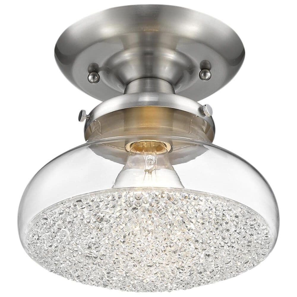 Golden Lighting Asha Small Semi Flush in Pewter with Crushed Crystal Glass, , large