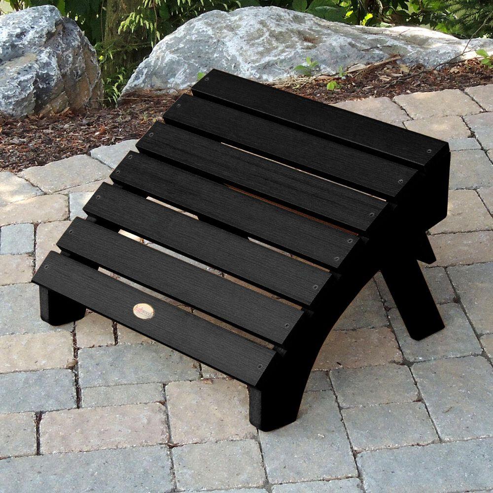 Highwood USA Hamilton Folding & Reclining Adirondack Chair with Ottoman in Black, , large